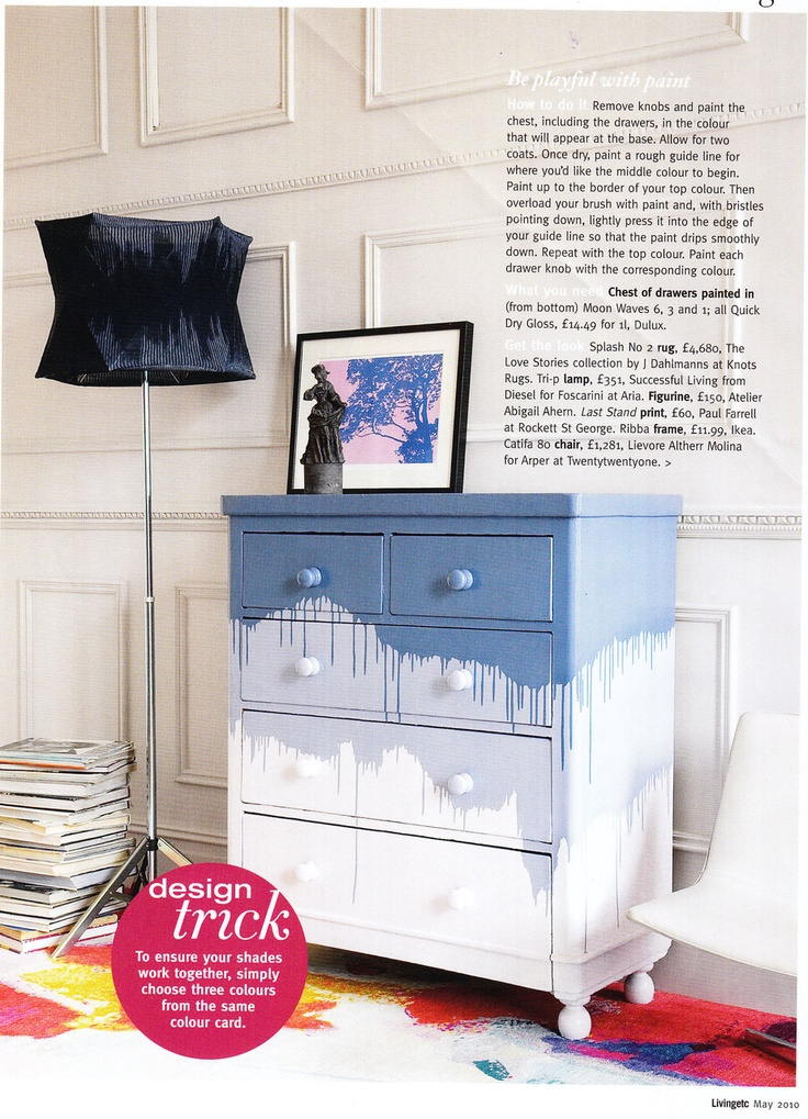 blue white chest drawers, paint effects