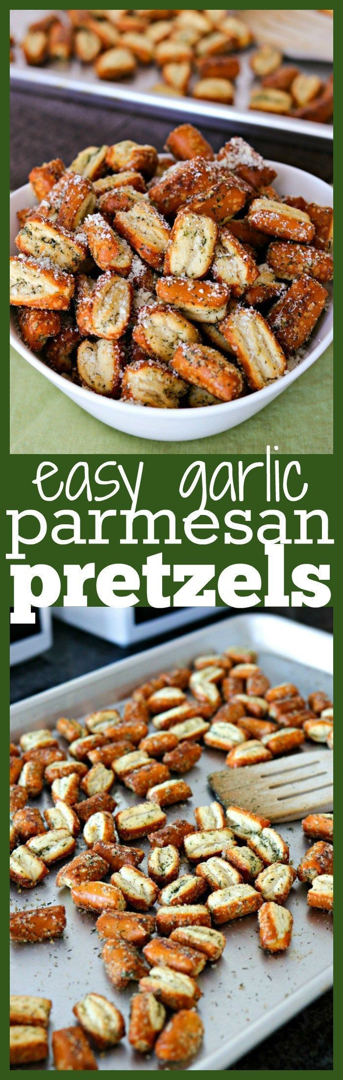 The recipe for these garlic parmesan pretzels couldn't be any easier! You just toss store-bought pretzels in garlic powder, Parmesan cheese, dried dill, and a little oil and baked for 30 minutes! You'll have a fun, homemade snack in no time!