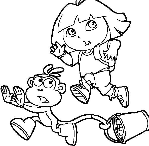 Dora And Boots Running Coloring For Kids