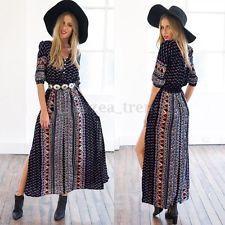 Boho Summer Lady Vintage Party Evening Hippie Print Slim Maxi Long Split Dress