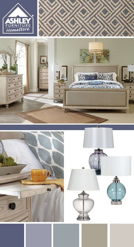Purple Blue with a soft upholstered bed   Demarlos Queen Bed   Ashley  Furniture. 25  best ideas about Ashley Furniture Bedroom Sets on Pinterest
