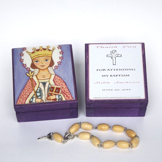 St Margaret of Scotland box Saint Margaret box Personalized christening gifts for girls Baptism favors for girls First communion favors