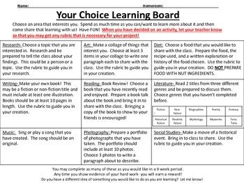 the best interesting topics for presentation ideas on grab and go choice boards and rubrics