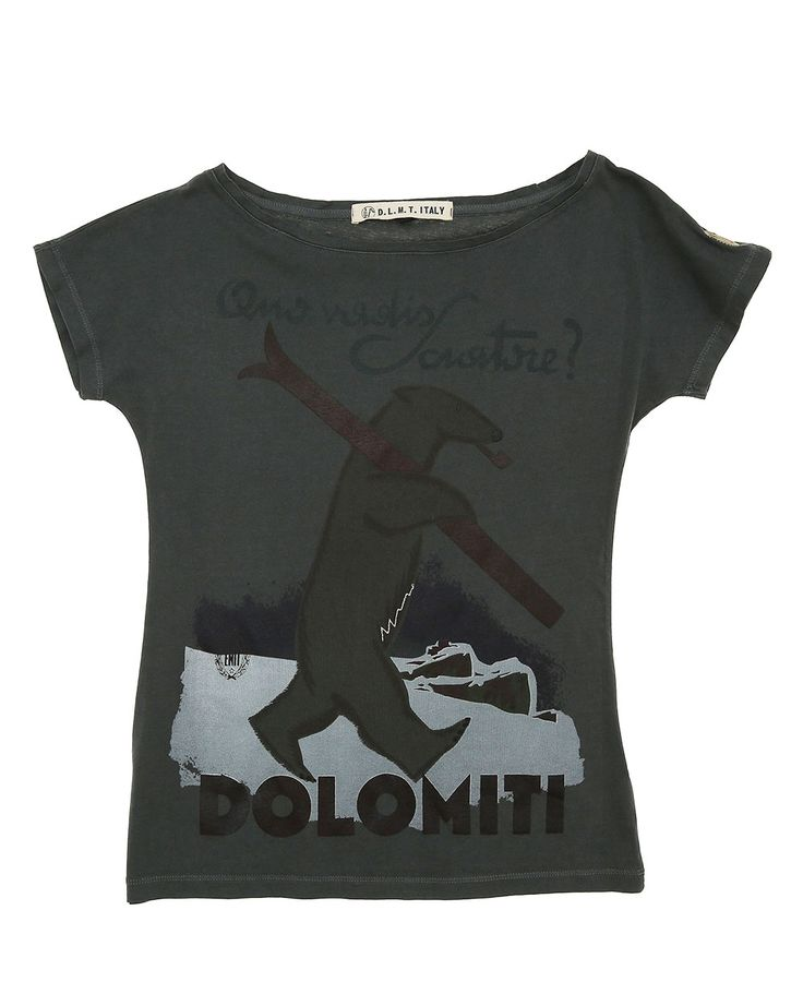 T-shirt woman Dolomites, soft style, short sleeve. Skier Bear vintage, Made in Italy.