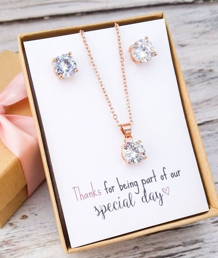 Rose Gold Jewelry Set - Bridesmaid Jewelry Set - Wedding Ideas