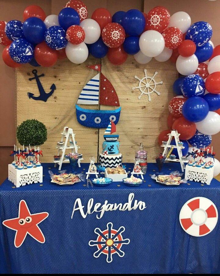 Nautical Fiesta Marinero Babyshower Ideas Decoracion Marinero Moderna Y Contempo Decoración De Fiestas Infantiles Fiesta Marinera Fiesta De Cumpleaños De Niños