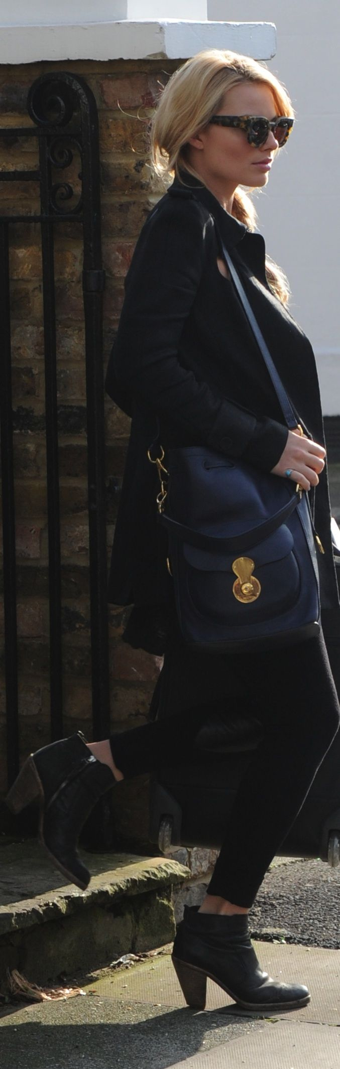 Actress Margot Robbie seen out and about with the Ralph Lauren Drawstring Ricky Bag