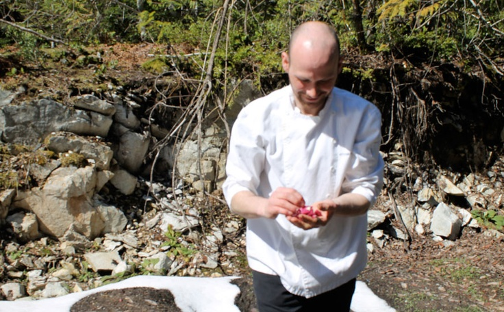 CONNECTED COOK The Brew Creek Centre's chef, Stefan Vagelatos, grows his own ingredients in a garden plot at the back of the Brew Creek property.