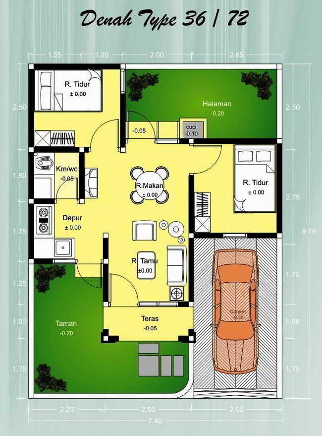 Aplikasi Desain Rumah Minimalis Gratis  denah rumah minimalis type 36 72 denah rumah rumah