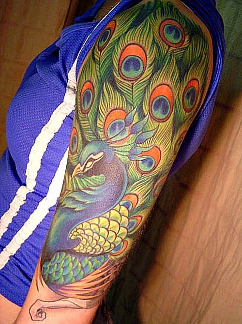 peacock tattoo on arm sleeve exotic tattoos for the arm tattoos pinterest peacock tattoo. Black Bedroom Furniture Sets. Home Design Ideas