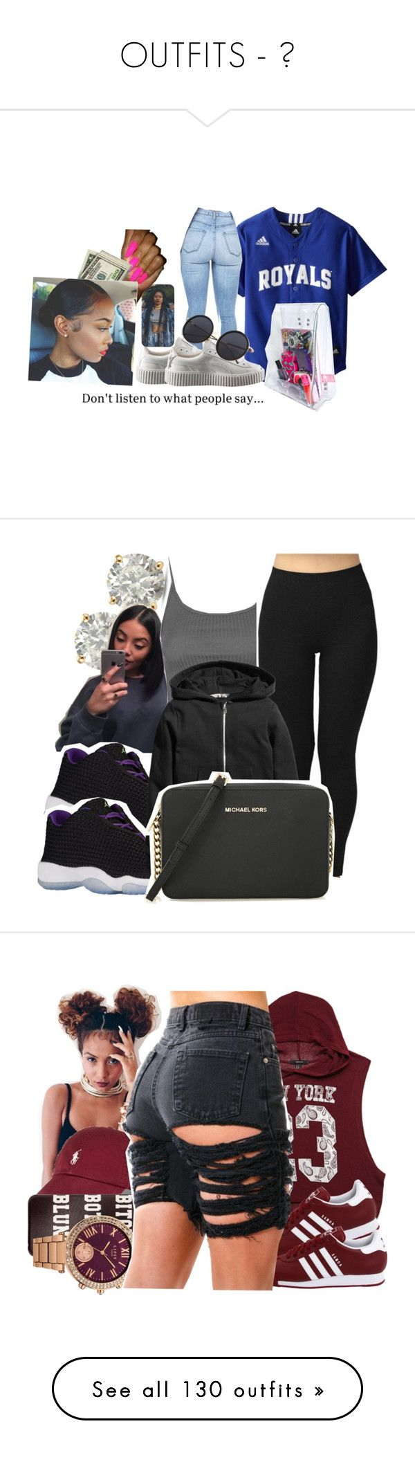 """OUTFITS - "" by queenamira ❤ liked on Polyvore featuring Puma, American Apparel, Auriya, Topshop, MICHAEL Michael Kors, Forever 21, Lipsy, adidas Originals, Pluma and Markus Lupfer"