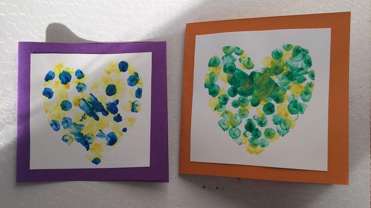 Äitienpäivä, kortti, sormenjälki, sydän, mothersday, card, diy, fingerprint, heart