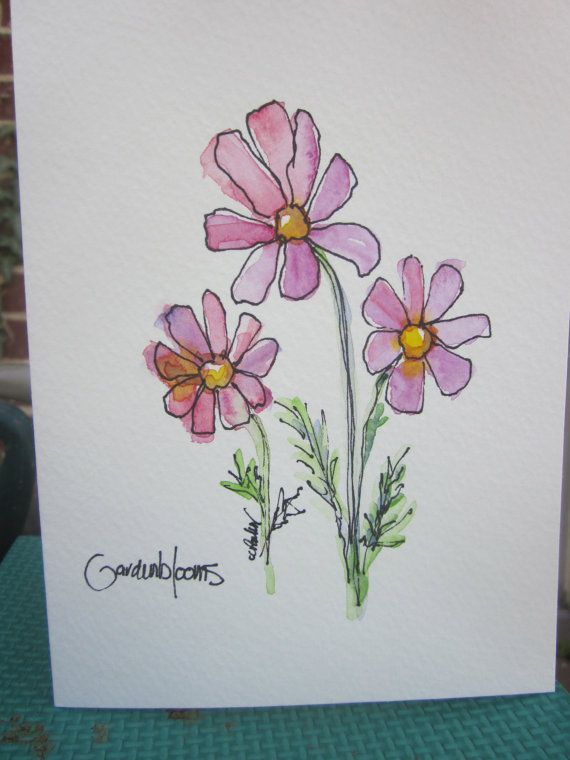 Dainty Cosmos Watercolor Card by gardenblooms on Etsy, $3.50