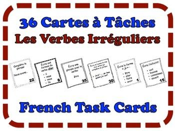 French Task Cards, Verbs: Irregular Verbs