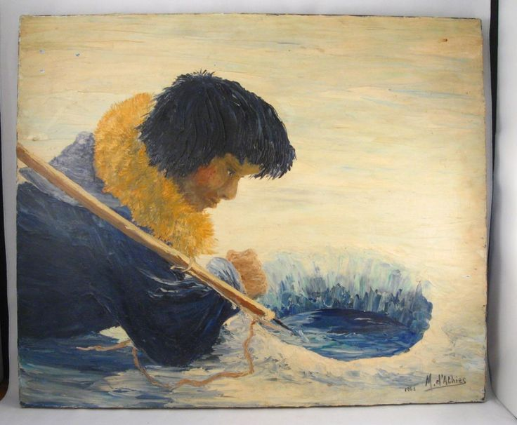 1962 INUIT ESKIMO SEAL HUNTING OIL PAINTING SIGNED M. DATHIES