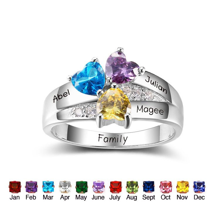 Express your love with this stunning 3 hearts gemstones crown design mothers ring!