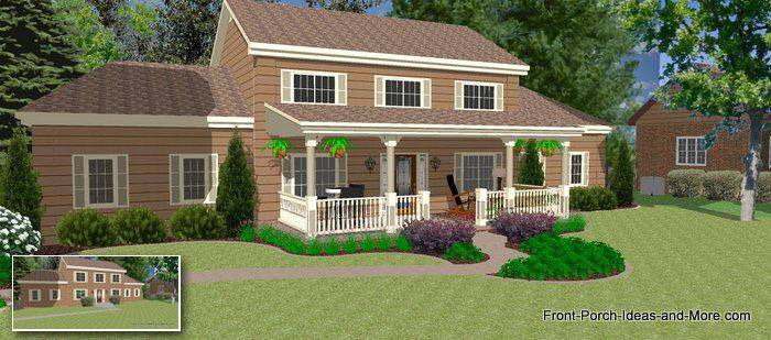 38 best images about exterior house on pinterest paint for Front porch designs for two story houses