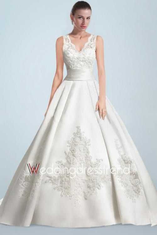 Spectacular Appliqued Beaded Chapel Train A-line Wedding Dress with V-shaped Neckline