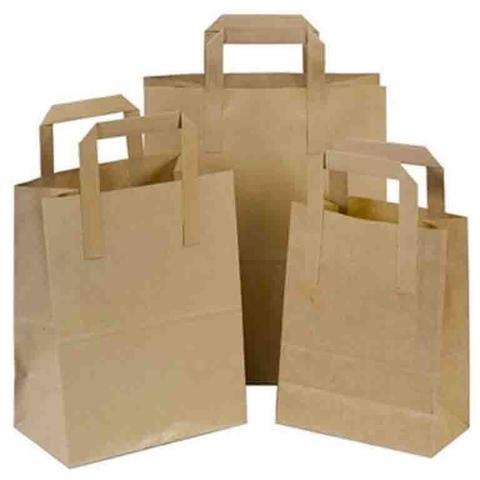 Shop brown paper bags with handles in flat or tape, twisted and rope at wholesale - ideal for takeaway, lunch, party, food, retail, general merchandise and gift giving.