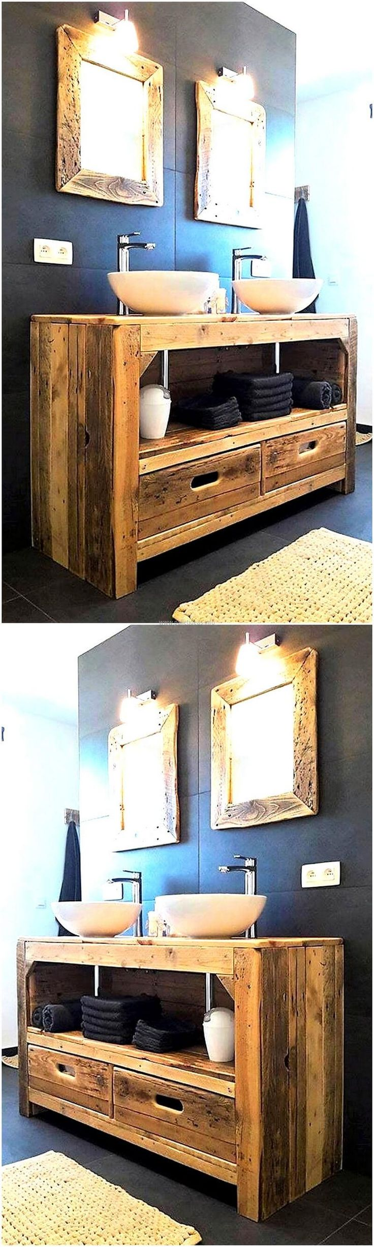 Pallets never fail to impress others because they can be reshaped into almost anything for any area; here you can see the reclaimed wood pallet rustic sink. It is making the bathroom look amazing and there are drawers as well to store the items of bathroom in an organized way.