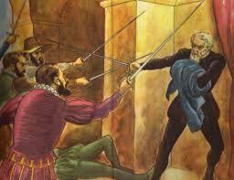 261 – (1541 - 26 de Junio) La Traición. Francisco Ampuero, secretario de Francisco Pizarro y esposo de su primera esposa Inés Huaylas Yupanqui, no hace el menor intento de defender a su jefe y benefactor, sino huye de la de las muchas grandes traiciones de la historia. Inés Muñoz queda consternada por este suceso.