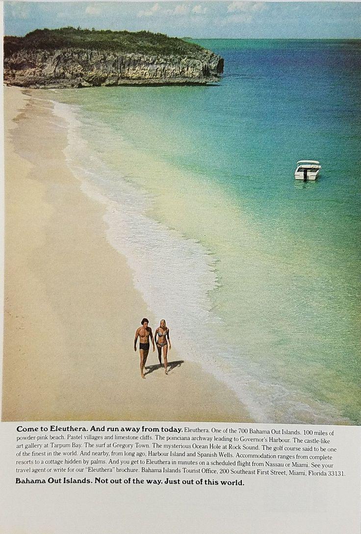 1972 Eleuthera Bahamas Tourism Tourist Vintage Ad - Couple Walking Beach Bikini
