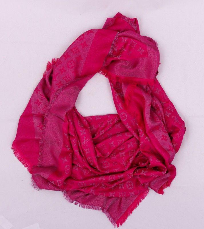 Платок-палантин Louis Vuitton широкий (шелк + шерсть + металлический люрекс) цвет малиновый. Размер 140х140см #19386