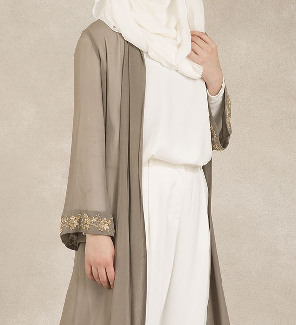 Grey Golden Leaf Kimono - £94.99 : Inayah, Islamic Clothing & Fashion, Abayas, Jilbabs, Hijabs, Jalabiyas & Hijab Pins
