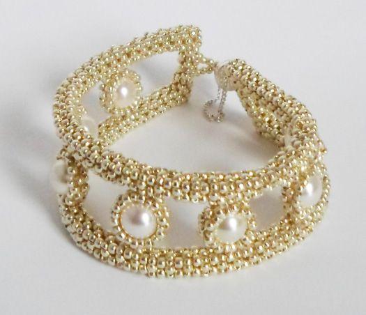3009 Silver bracelet with Swarovski Crystal Pearls   $80  by Darlene Pfahl