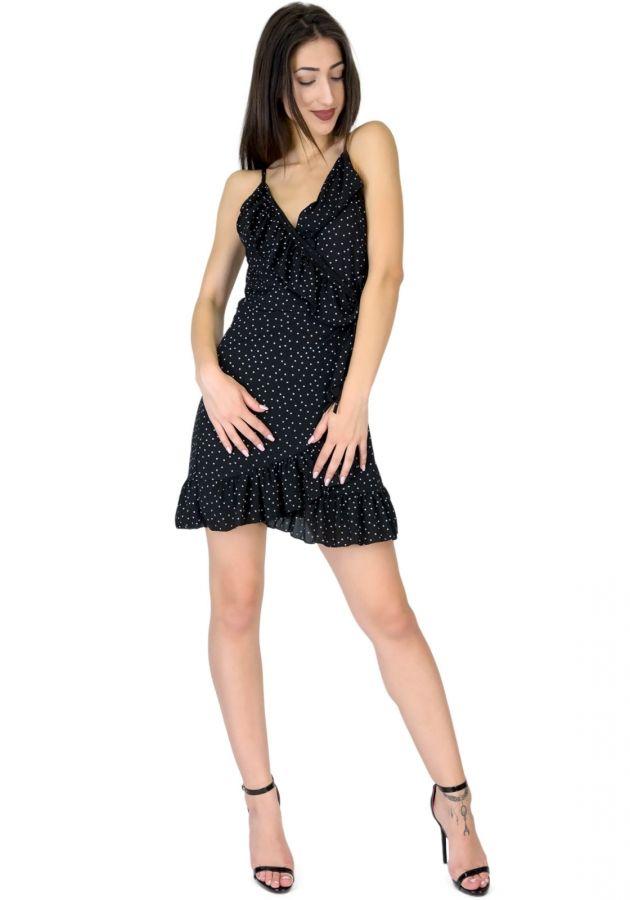 Φόρεμα mini πουά με βολάν  2ba0c09fba8