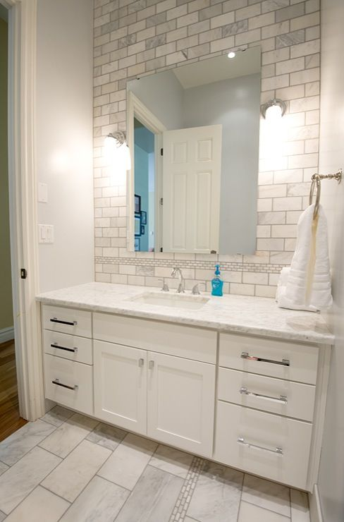 Fantastic Bathroom Remodel With Extra Wide Single White Vanity Marble Countertop Pale Blue Walls Paint Color Subway Tiles Backsplash