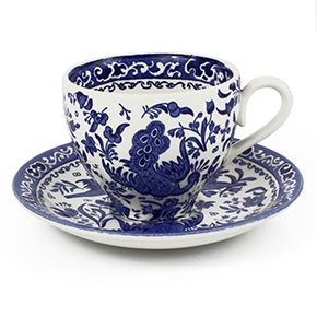 Burleigh Blue Regal Peacock Cup & Saucer
