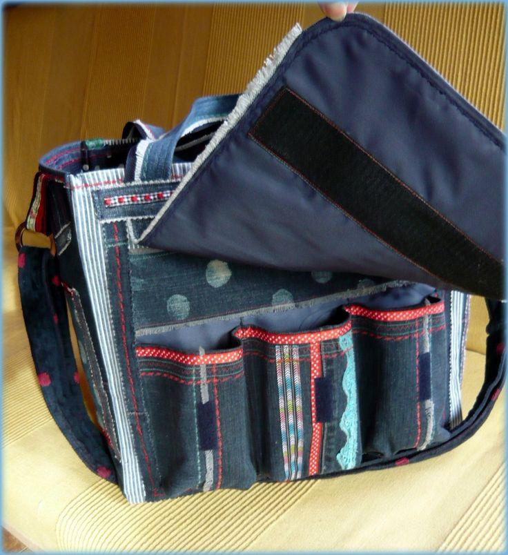 Handmade by Judy Majoros - Polka dots denim scrapbooking tote bag. Recycled bag. Materials:denim-cordura-rubber strap-velcro-lace-button-bead...