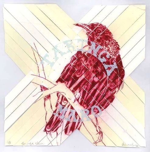 Vanessa Edwards, Yeah Nah...Yeah, etching and monoprint on 340 x 355 mm paper, 1 of 1, 2010. Sold.
