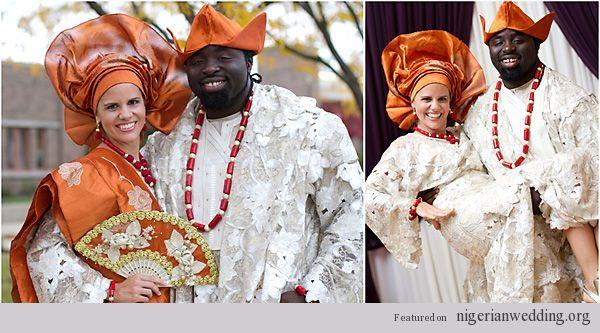 Nigerian Wedding In Cream And Orange Aso Oke Photo By Njeri Bi Benin Nigeria Brides Pinterest More Weddings