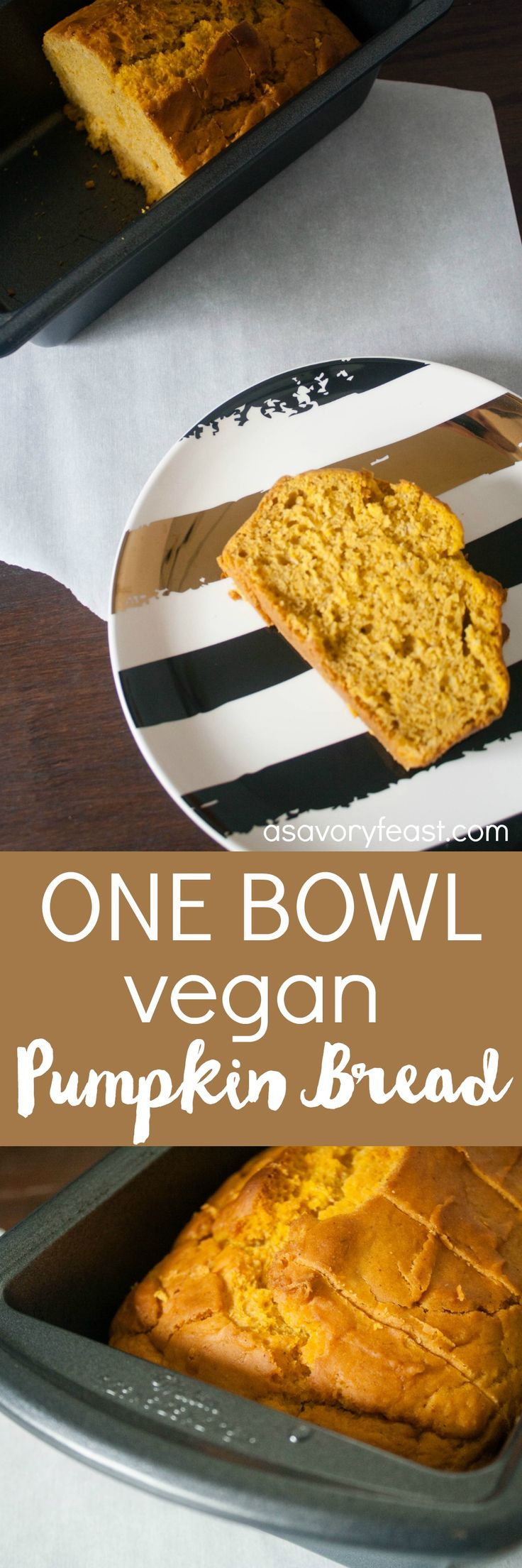 It doesn't get much easier than this! Kick off the Fall season with this One Bowl Vegan Pumpkin Bread. It's quick to mix up in just one bowl. Great for an easy breakfast with a cup of coffee.