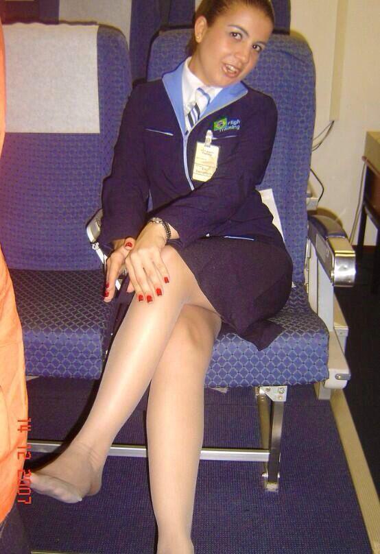 Flight attendant tan pantyhose footjob - 3 4