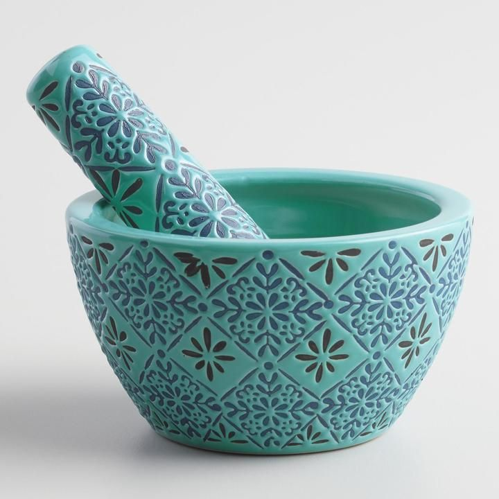 Blue Tile Ceramic Mortar and Pestle                              …