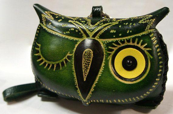 Handmade Genuine Leather Green Owl Coin Purse Wristlet