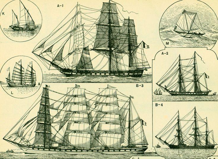 1897 Navires Navigation Vieux Gréements Histoire Larousse Illustration Grand Format 115 ANS D'AGE de la boutique sofrenchvintage sur Etsy