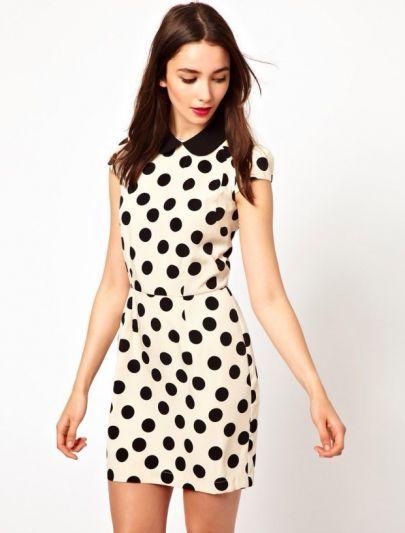 White Short Sleeve Polka Dot Bodycon Dress pictures