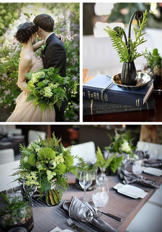Whether you cascade ferns down reception tables, bunch them as a bouquet, or nestle them on your cake, ferns create a fairy-like feel on your wedding day.