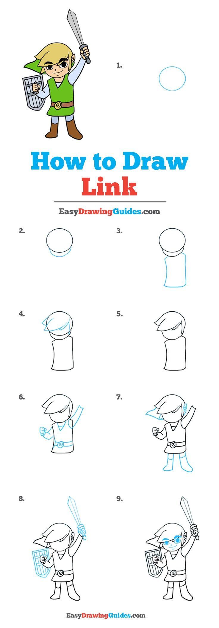 zelda draw easy link drawing games step tutorial drawings paintingvalley tutorials sword really