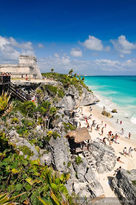 beach and Mayan ruins at Tulum - Admired by www.visit-vallarta.com