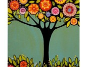 """Digital Print from original painting """"Tree with flowers"""" by Elina Lorenz colorful and brightElina Lorenz, Birds Art, Kitchens Art, Flower Trees Painting, Painting Trees, Originals Painting, Digital Prints, Watercolors Painting, Colors Inspiration"""