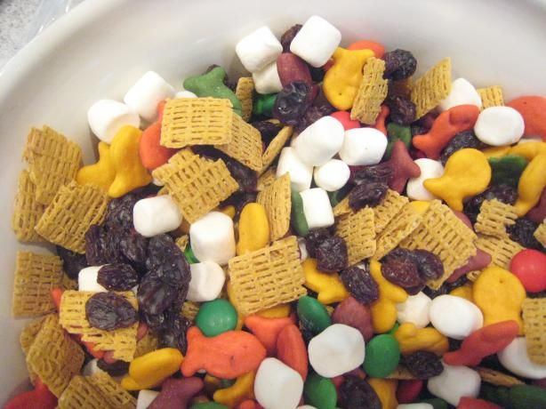 Kids Snack Mix.  I tripled this recipe for my son's class snack. I omitted the marshmallows and chocolate and included 2 cups Honey Nut Chex.