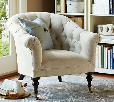 Barlett Upholstered Armchair - Pottery Barn don't know what it is about button tufted furniture lately that gets me