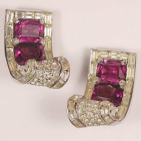 Jomaz Pave Baguettes and Amethysts Deco Style Swirl Clip Earrings
