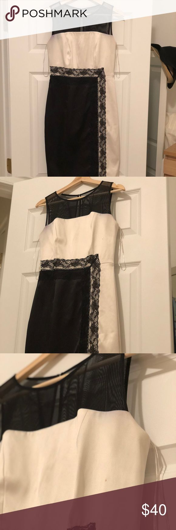 """Colorblock Satin and Lace Cocktail Dress Ivory satin, lace detail, illusion mesh neckline Approximately 37"""" shoulder to hem Small discoloration on right arm and left chest Worn for wedding once, haven't worn since! Melrose Dresses"""