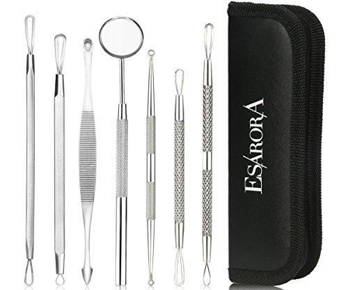 ESARORA Blackhead Remover Pimple Remover Set of 7 Professional Pimple Exctractor Tools More Easy to Remove Blackhead Acne Pimple and Facial Blemish (style2)